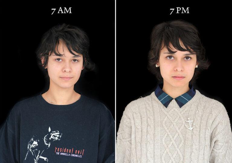 """""""Fotografowała ludzi o siódmej rano i siódmej wieczorem. Oto jak zmienia się twarz w ciągu dnia [GALERIA]"""""""